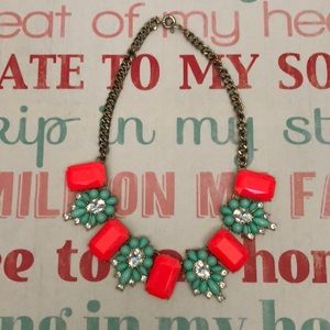 J. Crew necklace Hot pink and Mint